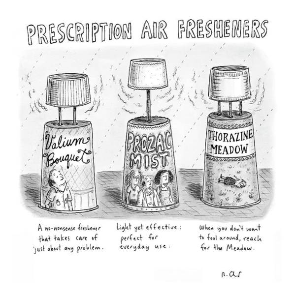 Fitness Drawing - Prescription Air Fresheners by Roz Chast