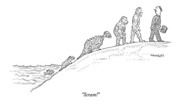 Creationism Wall Art - Drawing - Scram! by Robert Mankoff