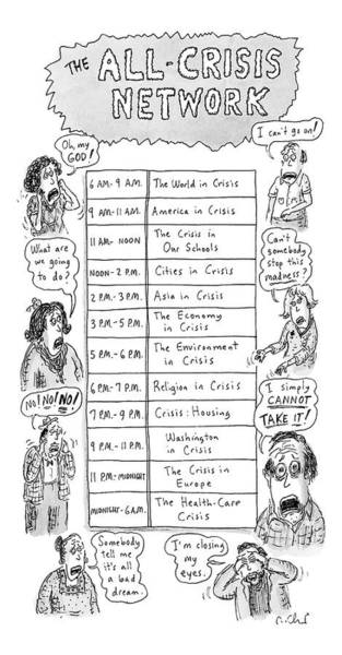 T.v Drawing - The All-crisis Network by Roz Chast
