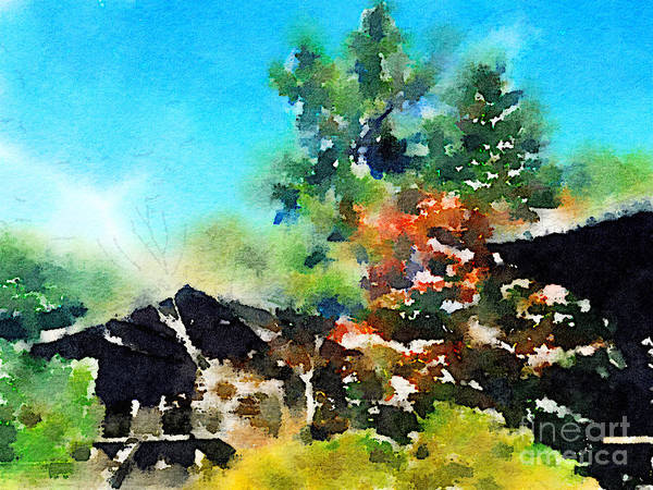 Painting - 8th Century Sutra Storehouses At Toshodai-ji In Nara by Beverly Claire Kaiya