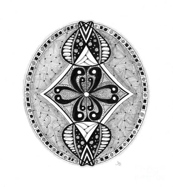 Organic Form Drawing - 9 - 2 Pt Symmetry by Jeaanne Donovan