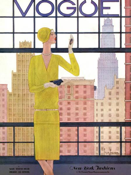 Window Photograph - A Vintage Vogue Magazine Cover Of A Woman by Georges Lepape