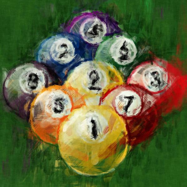 Six Wall Art - Digital Art - 9 Ball Rack Abstract by David G Paul