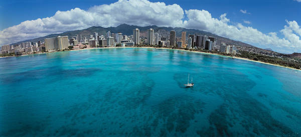 Fish Eye Lens Photograph - Buildings At The Waterfront, Honolulu by Panoramic Images