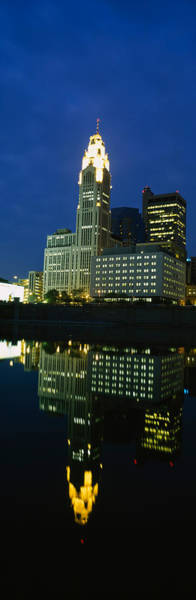 Scioto Photograph - Buildings In A City Lit Up At Night by Panoramic Images