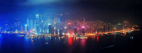 Photograph - Hong Kong Aerial Night by Songquan Deng