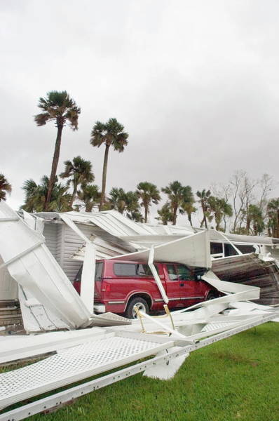 Trailer Photograph - Hurricane Damage by Jim Reed/science Photo Library