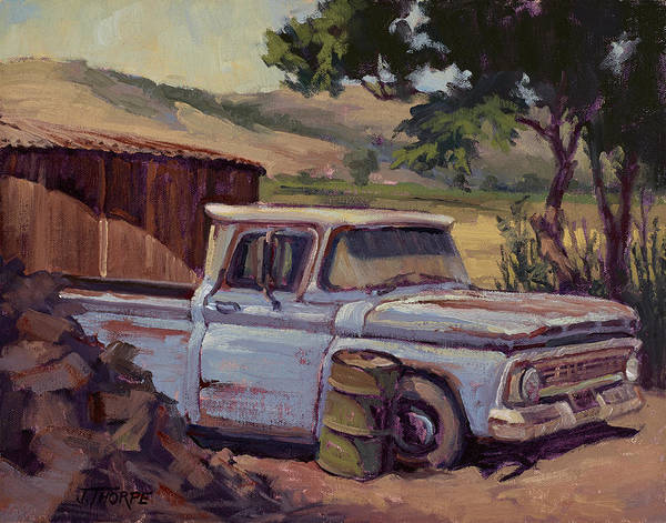 Old Chevy Truck Painting - Waiting For Work by Jane Thorpe