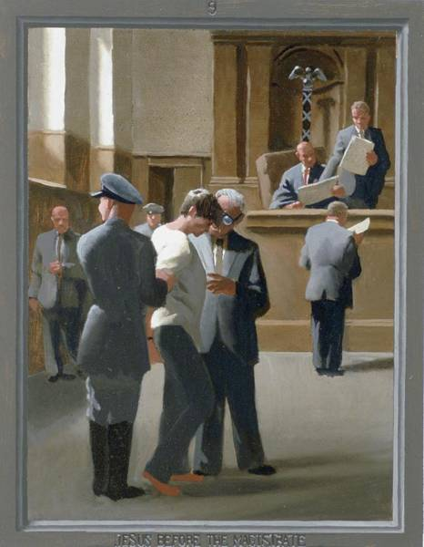 Pontius Pilate Wall Art - Painting - 9. Jesus Before The Magistrate / From The Passion Of Christ - A Gay Vision by Douglas Blanchard