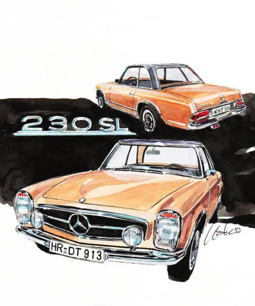 Mercedes Painting - Mercedes 230sl by Yoshiharu Miyakawa