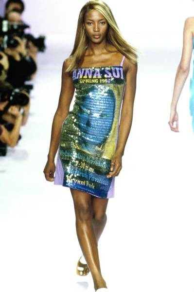 Runway Model Photograph - Naomi Campbell On A Runway For Anna Sui by Guy Marineau