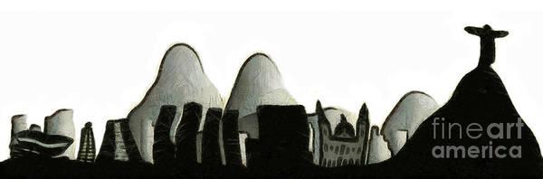 Wall Art - Mixed Media - Rio De Janeiro Skyline by Michal Boubin