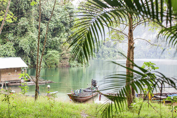 Motorboat Photograph - Scene On Chieow Laan Lake, Khoa Sok by Emma Gutteridge