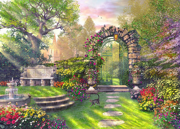 Nostalgia Digital Art - The Garden Gates by MGL Meiklejohn Graphics Licensing