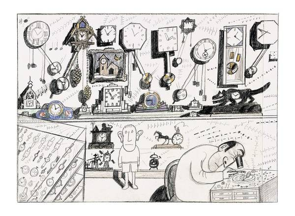 Invention Drawing - New Yorker August 23rd, 2004 by Saul Steinberg