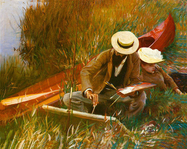 Painting - Paul Helleu Sketching With His Wife by John Singer Sargent