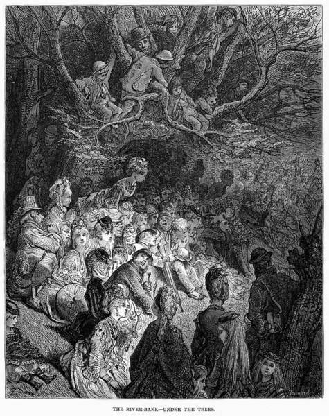 Riverbank Drawing - London by Gustave Dore