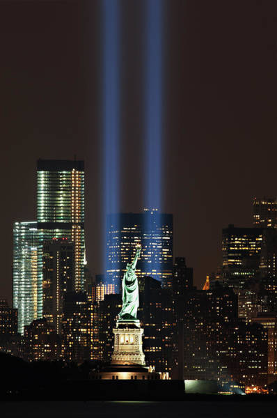 September 11 Attacks Photograph - 911 Memorial Lights And Statue Of by Jerry Driendl
