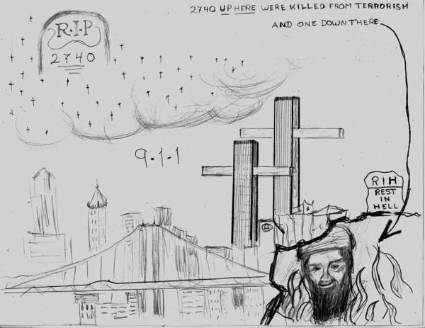 Twin Towers Drawing - 911 New York City by Tibi K