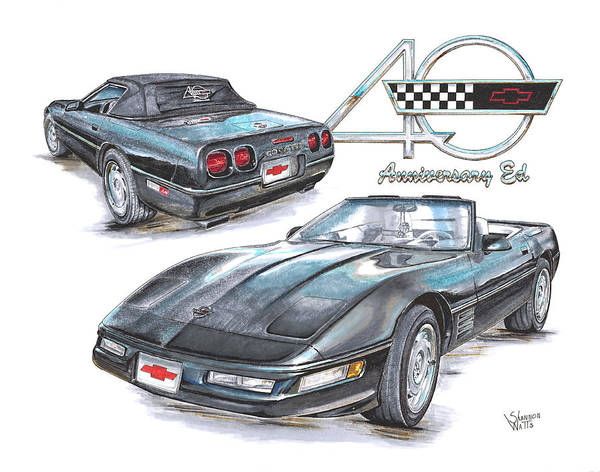 Chevrolet Drawing - 93 Chevrolet Corvette 40th Anniversary Edition by Shannon Watts