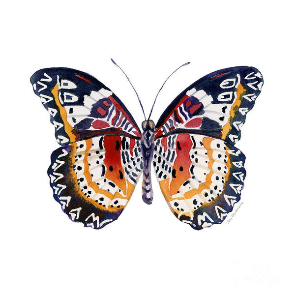 Red And White Painting - 94 Lacewing Butterfly by Amy Kirkpatrick