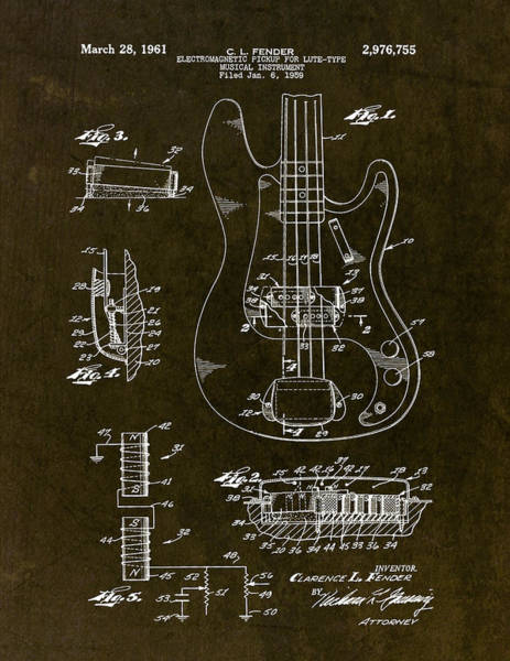 Fish Drawing - 1961 Fender Bass Pickup Patent Art by Gary Bodnar
