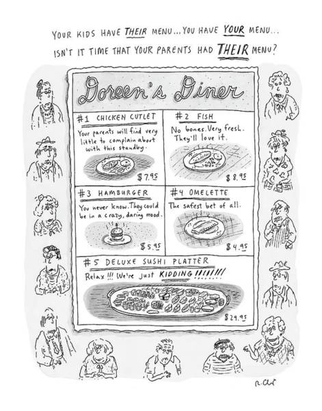 5 Drawing - Doreen's Diner by Roz Chast