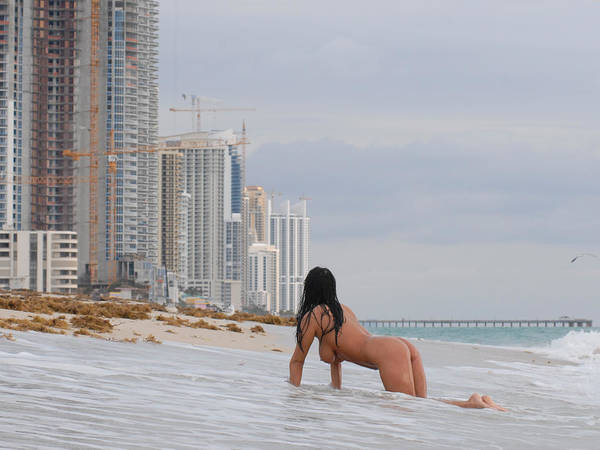 Photograph - 9835 Nude Woman Crawling To High Rise Condos On Beach by Chris Maher