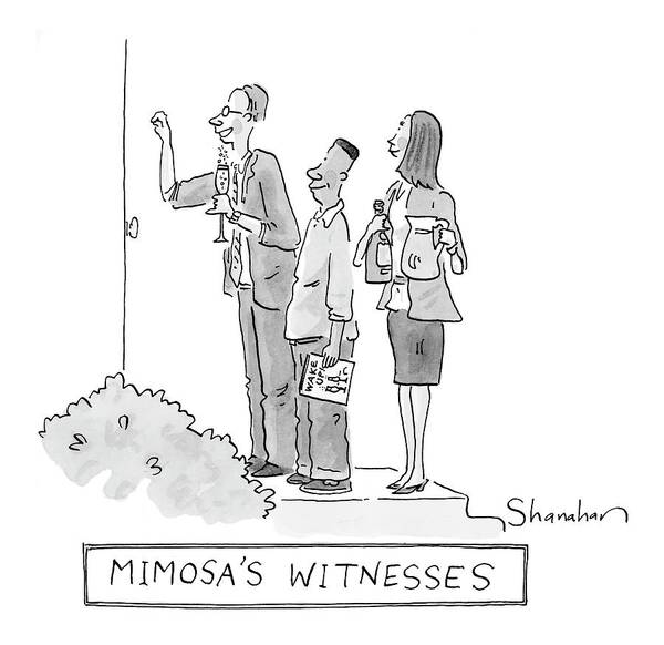 Champagne Drawing - Mimosa's Witnesses by Danny Shanahan