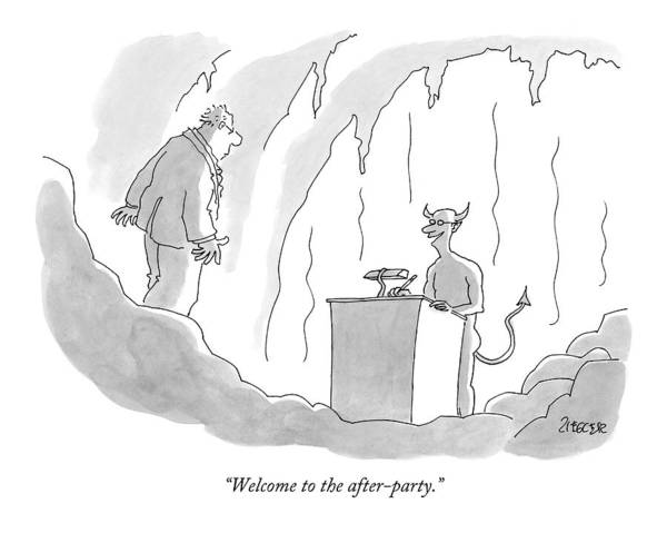 Welcome Drawing - Welcome To The After-party by Jack Ziegler