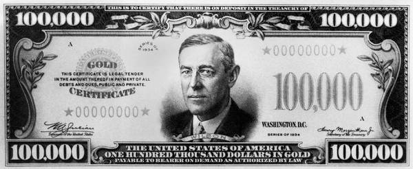 Hundred Photograph - A $100,000 Bill by Underwood Archives