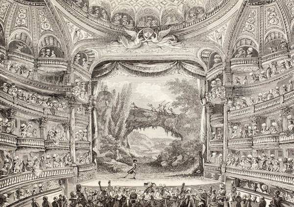 Amuse Drawing - A 1789 Performance In The Theatre Des Varietes Amusantes by French School