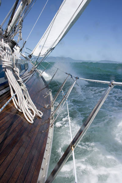 Wall Art - Photograph - A 39 Foot Sailboat Sails In Strong Wind by Abner Kingman