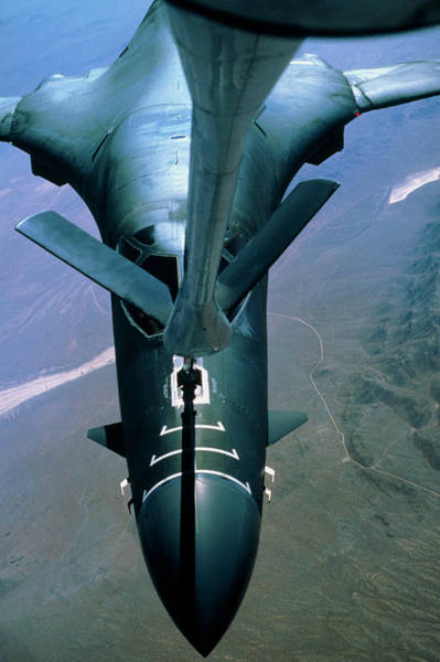 Wall Art - Photograph - A B-1 Bomber Undergoing Aerial Refueling by Peter Menzel/science Photo Library