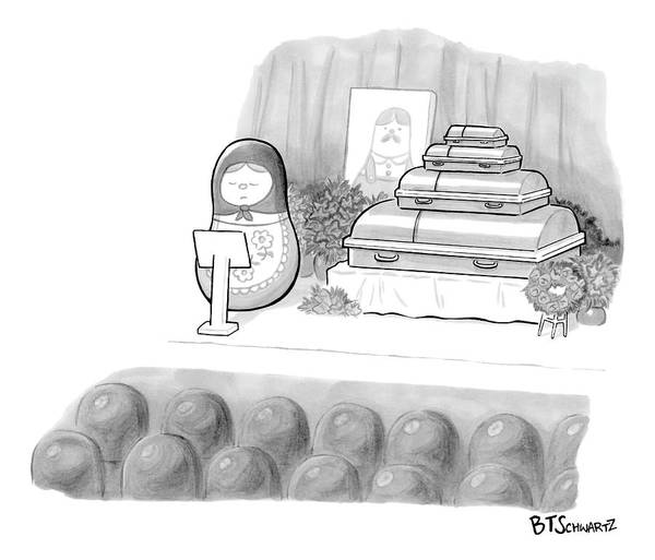Russian Drawing - A Babushka Doll Gives The Eulogy For Another by Benjamin Schwartz