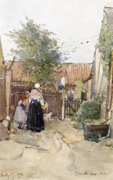 Clothesline Painting - A Back Garden Berck Sur Mer by Patty Townsend Johnson