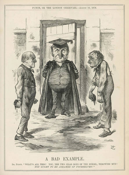 Gladstone Wall Art - Drawing - 'a Bad Example'  Disraeli And Gladstone by Mary Evans Picture Library