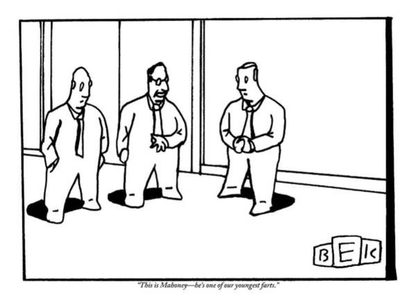December 12th Wall Art - Drawing - A Bald Businessman Introduces Another Bald by Bruce Eric Kaplan