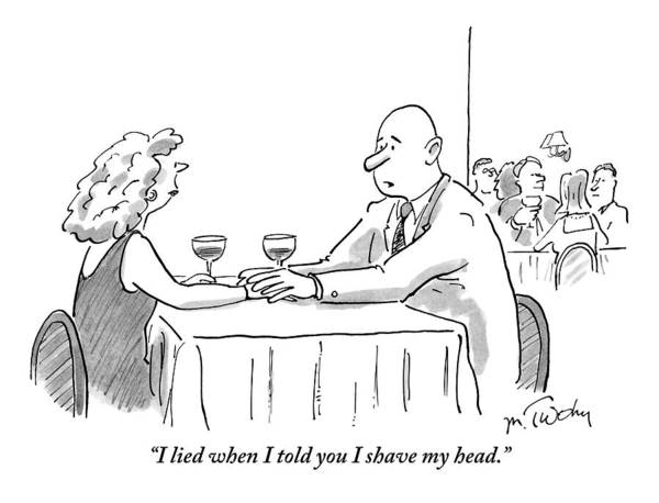 Restaurant Drawing - A Bald Man Speaks To A Woman At A Restaurant by Mike Twohy