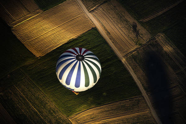 Cappadocia Photograph - A Balloon Over The Agricultural Field by Coolbiere Photograph
