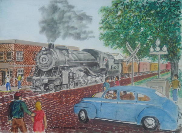 A Baltimore And Ohio Freight Passes Tracy Park Portsmouth Ohio Art Print