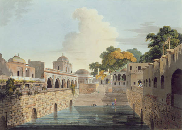 Pool Drawing - A Baolee Near The Old City Of Delhi by Thomas & William Daniell