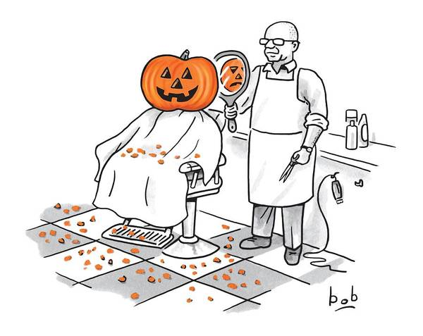 Halloween Drawing - A Barber Shows A Smiling Jack-o-lantern The Back by Bob Eckstein