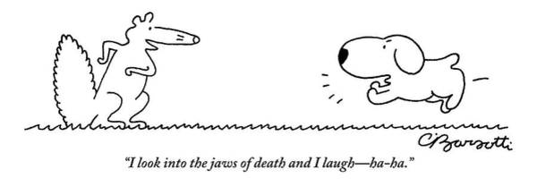 May 30th Drawing - A Barking Dog Runs Towards A Squirrel Who Faces by Charles Barsotti