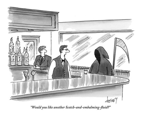 Bartender Drawing - A Bartender Speaks To The Grim Reaper by Tom Cheney