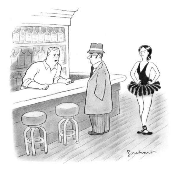Bartender Drawing - A Bartender Talks To A Member Of The Mafia by David Borchart