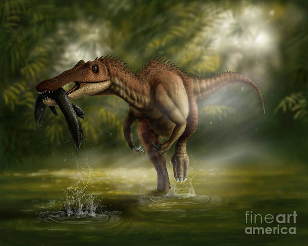 Wall Art - Digital Art - A Baryonyx Dinosaur Catches A Fishin by Yuriy Priymak