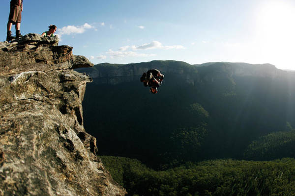 Base Jumping Photograph - A Base Jumper Performs A Front Flip by Krystle Wright
