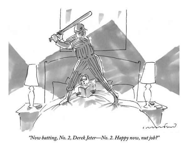 A Baseball Player About To Take A Swing Stands Art Print
