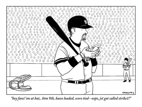 Fans Drawing - A Baseball Player Yankees Twitters by Alex Gregory